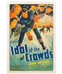"""Idol of the Crowds"" 1937 Hockey Movie One Sheet Poster Featuring John Wayne (27"" x 41"")"