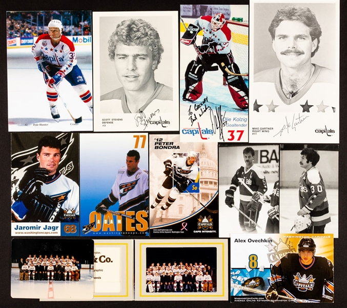 Washington Capitals 1974-75 to 2006-07 Postcard and Team Card Collection of 660+ including 71 Signed