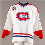 Benoit Brunets 1991-92 Montreal Canadiens Game-Issued Jersey with Team LOA - 75th Patch!