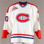Andre Racicots 1992-93 Montreal Canadiens Game-Issued Jersey with Team LOA - All-Star Game Patch!