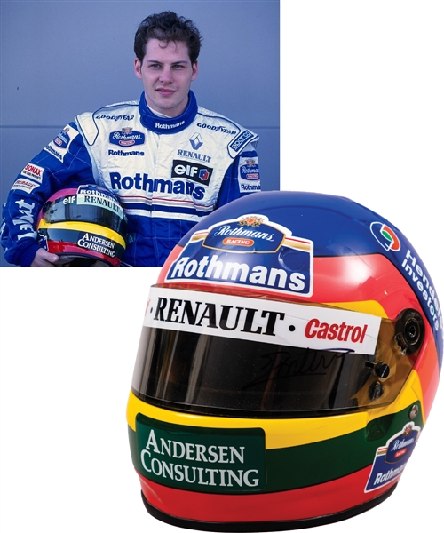 Jacques Villeneuve's 1996/1997 Rothmans Williams Renault F1 Team Bell Worn Helmet with His Signed LOA