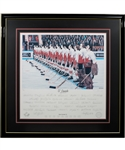 "Team Canada 1972 Canada-Russia Series ""OCanada"" Team-Signed Limited-Edition Daniel Parry Lithograph #89/972 From Ed Belfours Collection with His Signed LOA (34"" x 34"")"