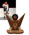 Jacques Laperrieres First NHL Goal Hockey Puck Trophy with His Signed LOA