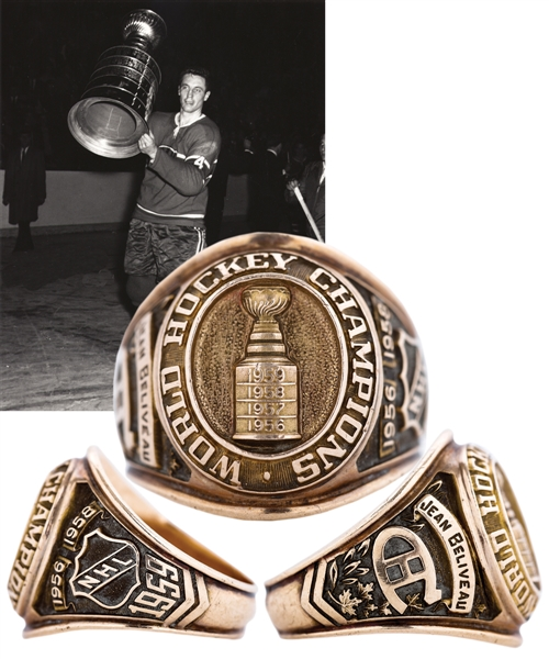 Jean Beliveaus 1958-59 Montreal Canadiens Stanley Cup Championship 10K Gold Ring from His Personal Collection with Family LOA