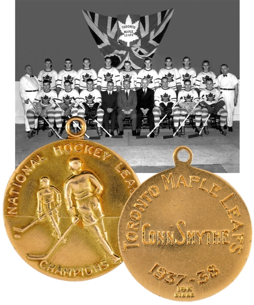 Conn Smythes 1937-38 National Hockey League Champions 14K Gold Pendant