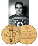 "Julius ""Pete"" Leichnitzs 1948 Winter Olympics Gold Medal for Hockey Won by Canada in Original Presentation Box with LOA"