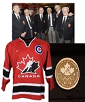 "Julius ""Pete"" Leichnitzs 2008 Canada Olympic Hall of Fame 10K Gold and Diamond Induction Pin in Original Box and Jersey with LOA"