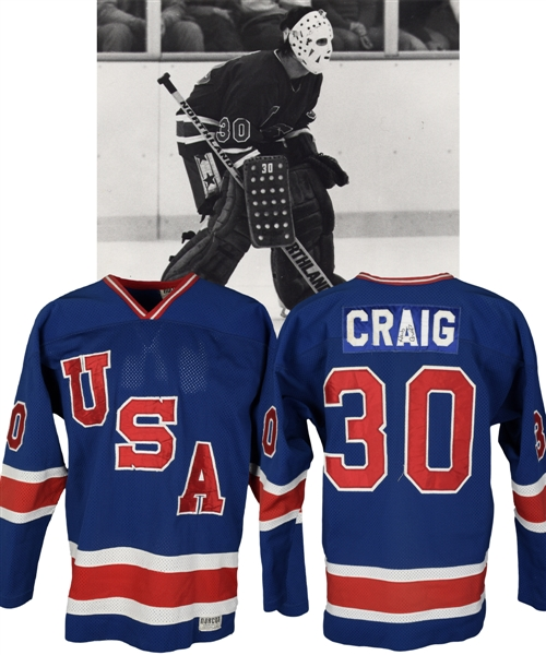 Jim Craigs 1980 Team USA Pre-Olympic Tournament Game-Worn Jersey - Photo-Matched!