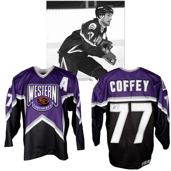 Paul Coffeys 1994 NHL All-Star Game Western Conference Signed Game-Worn Alternate Captains Jersey with NHLPA LOA