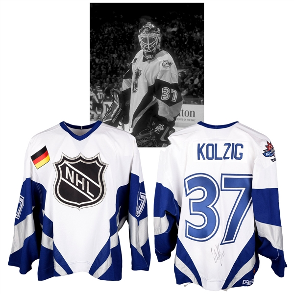 Olaf Kolzigs 1998 NHL All-Star Game World All-Stars Signed Game-Worn Jersey with NHLPA LOA
