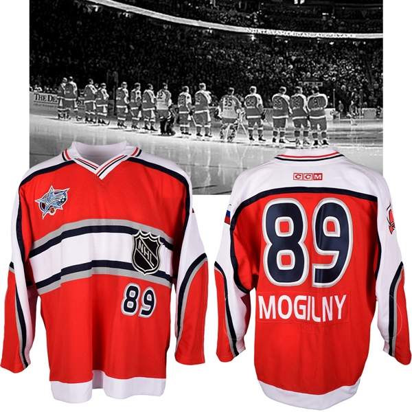 Alexander Mogilnys 2001 NHL All-Star Game World Team Game-Issued Jersey with NHLPA LOA