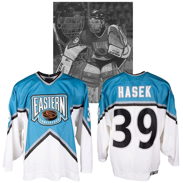 Dominik Haseks 1996 NHL All-Star Game Eastern Conference Signed Game-Worn Jersey with NHLPA LOA