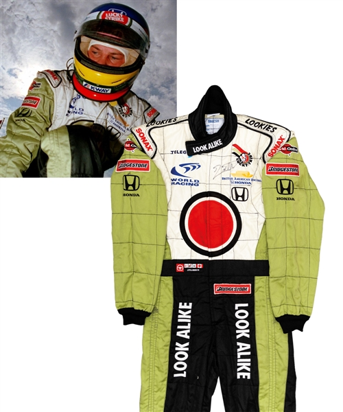 Jacques Villeneuve's 2000 Lucky Strike BAR Honda F1 Team Signed Race-Worn Suit (Look Alike Sponsorship) with His Signed LOA