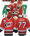 "Paul Coffeys 1999-2000 Carolina Hurricanes Game-Worn Jersey with His Signed LOA - Raleigh Arena Inaugural Season and Chiasson ""3"" Patches!"