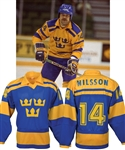 Kent Nilssons 1984 Canada Cup Team Sweden Game-Worn Jersey from Paul Coffeys Collection with His Signed LOA