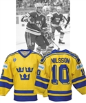 Kent Nilssons 1990 IIHF World Championships Team Sweden Game-Worn Jersey from Paul Coffeys Collection with His Signed LOA