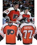 Paul Coffeys 1997-98 Philadelphia Flyers Game-Worn Jersey with His Signed LOA - Photo-Matched!