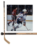 Paul Coffeys 1982-83 Edmonton Oilers Signed Sher-Wood Game-Used Playoffs Stick with His Signed LOA