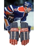 Paul Coffeys 1985-86 Edmonton Oilers CCM Game-Used Gloves with His Signed LOA - James Norris Trophy Season! - Photo-Matched!