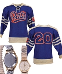 "Late-1950s/Early-1960s SJHL Regina Pats Game-Worn Wool Jersey From Gordon ""Red"" Berensons Collection with His Signed LOA Plus His 1957-58 SJHL All-Star Game Wristwatch"