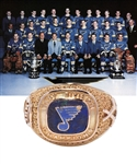 "Gordon ""Red"" Berensons 1968-69 St. Louis Blues West Division Champions 18K Gold Ring with His Signed LOA"