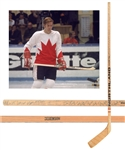 "Gordon ""Red"" Berensons 1972 Canada-Russia Series Vintage Team-Signed Game-Issued Stick with His Signed LOA"