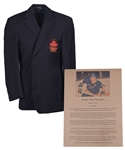 "Gordon ""Red"" Berensons Canadas Sports Hall of Fame Honoured Member Blazer Jacket Plus Saskatchewan Hall of Fame Plaque with His Signed LOA"