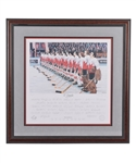 "Gordon ""Red"" Berensons 1972 Canada-Russia Series Team Canada ""OCanada"" Team-Signed Limited-Edition P.E. Daniel Parry Lithograph #15/40 with His Signed LOA"