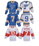 "Gordon ""Red"" Berensons St. Louis Blues and Detroit Red Wings Event-Worn Jerseys (3) with His Signed LOA"