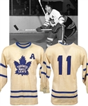 Tod Sloans Circa 1955-56 Toronto Maple Leafs Game-Worn Alternate Captains Wool Jersey with Family LOA - Team Repairs!