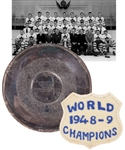 Tod Sloans 1950-51 Toronto Maple Leafs Stanley Cup Championship Tray Plus 1948-49 World Champions Crest with Family LOA