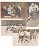 Tod Sloans 1940s/1950s Toronto Maple Leafs Photo Display Collection of 4 from Maple Leaf Gardens with Family LOA