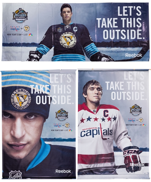 NHL Winter Classic 2011 Large Event Banners Featuring Alexander Ovechkin and Sidney Crosby with NHL COAs