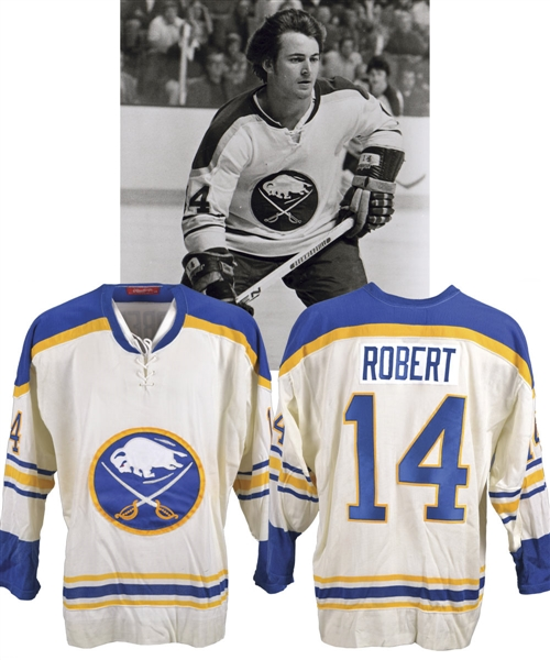 Rene Roberts Mid-1970s Buffalo Sabres Signed Rawlings Jersey with His Signed LOA