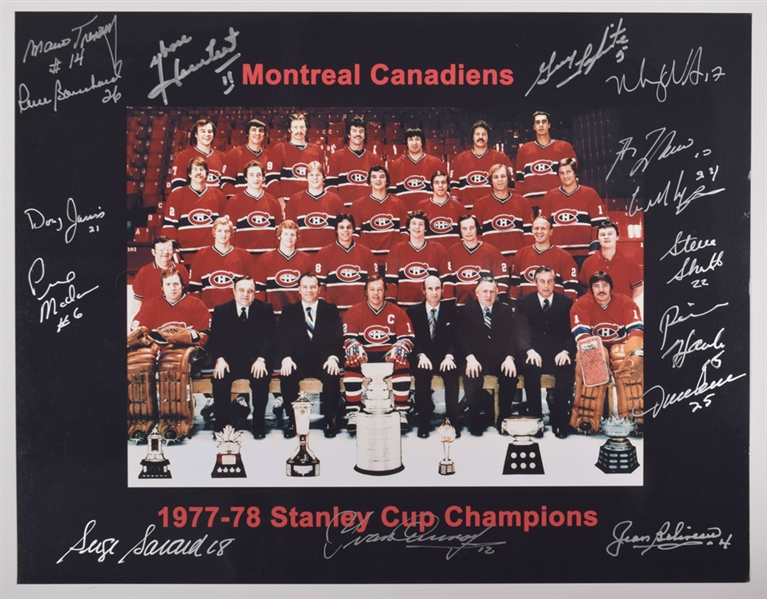 "Montreal Canadiens 1977-78 Stanley Cup Champions Team-Signed Photo by 15 with LOA (12"" x 15"")"