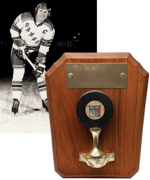 "Vic Hadfields New York Rangers February 23rd 1972 ""40th Goal of Season"" Goal Puck with His Signed LOA (9"" x 11"")"