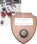 "Vic Hadfields New York Rangers December 26th 1971 ""400th Point of Career"" Milestone Puck with His Signed LOA"