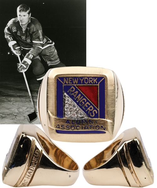 Vic Hadfields New York Rangers Alumni Association 14K Gold and Diamond Ring with His Signed LOA