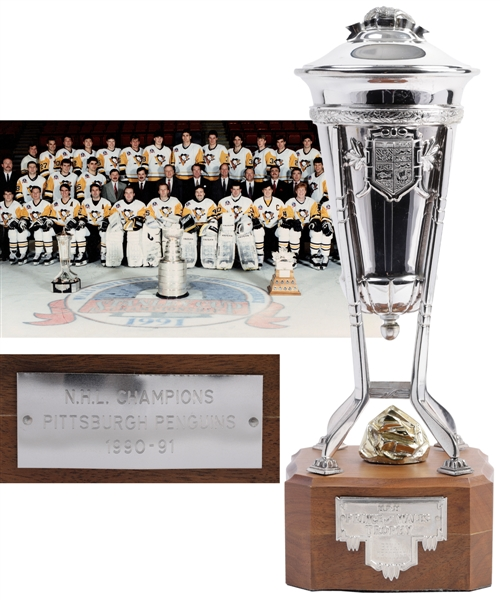 Bryan Trottiers 1990-91 Pittsburgh Penguins Prince of Wales Championship Trophy with Family LOA