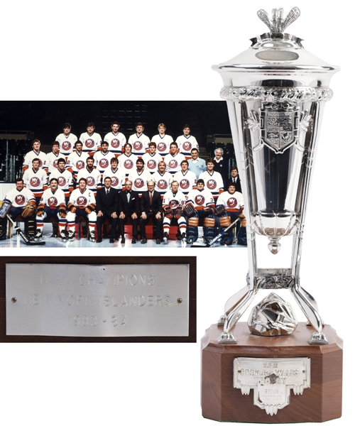 Bryan Trottiers 1983-84 New York Islanders Prince of Wales Championship Trophy with Family LOA