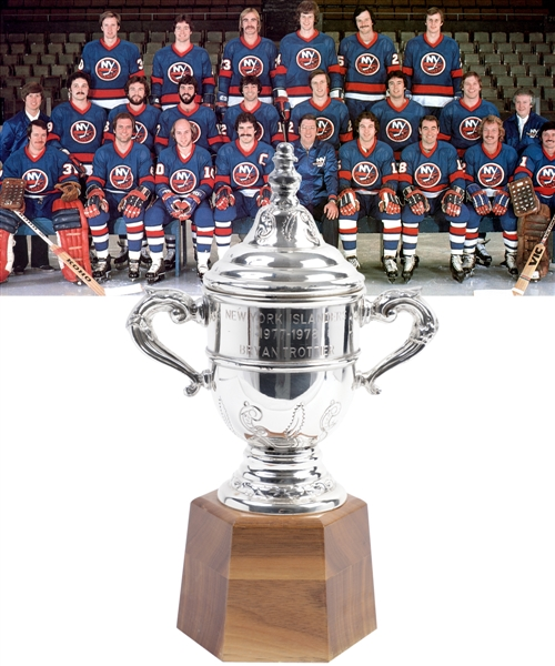 "Bryan Trottiers 1977-78 New York Islanders Clarence Campbell Bowl Championship Trophy with Family LOA (11"")"