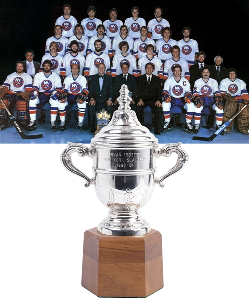 "Bryan Trottiers 1980-81 New York Islanders Clarence Campbell Bowl Championship Trophy with Family LOA (11"")"