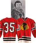 Tony Espositos 1976-77 Chicago Black Hawks Game-Worn Durene Jersey from the Michael Wexler Collection - Team Repairs! - Photo-Matched!