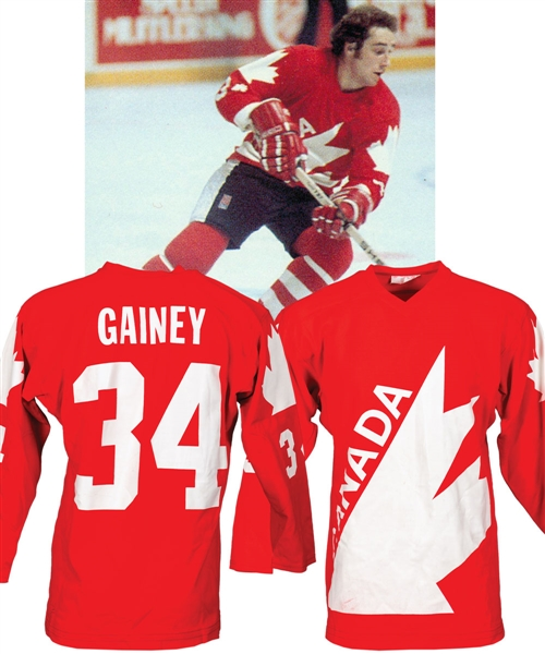 Bob Gaineys 1976 Canada Cup Team Canada Game-Worn Jersey from His Personal Collection with His Signed LOA