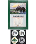 Vintage Dawes Breweries Black Horse Beer Advertising Collection Including Trays (6), 1943 Calendar, Vintage Display Sign and More!