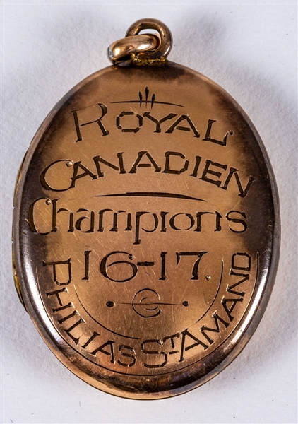 Philias St-Amands 1916-17 Royal Canadien Hockey Champions Locket