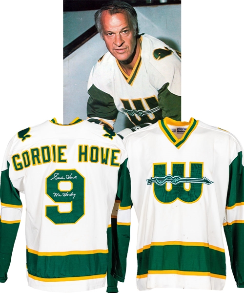 Gordie Howes 1977-78 WHA New England Whalers Signed Game-Worn Pre-Season Jersey - Photo-Matched!