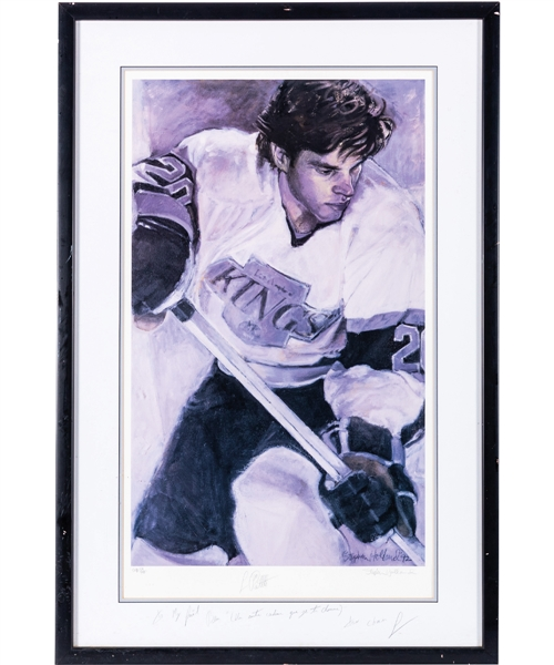 "Luc Robitailles Signed Los Angeles Kings Framed Artist Proof Lithograph #AP 59/100 by Stephen Holland from His Personal Collection with His Signed LOA (27"" x 40 ½"")"