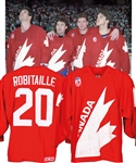 Luc Robitailles 1991 Canada Cup Team Canada Game-Worn Jersey from His Personal Collection with His Signed LOA - Photo-Matched!