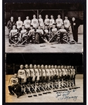 New York Americans 1933-34 and 1938-39 Real Photo Postcards with HOFers Simpson, Worters, Dutton, Schriner, Stewart and Smith
